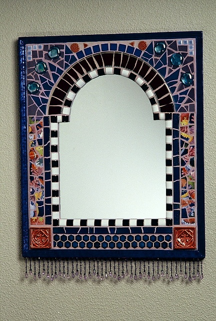 Mirror with Bead Fringe by Plum Art Mosaics, via Flickr