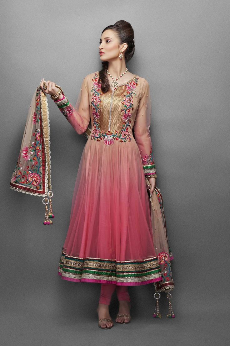 Gold and Pink Shaded Net Anarkali Suit with exquisite sequence, Resham & Crystal Embroidery
