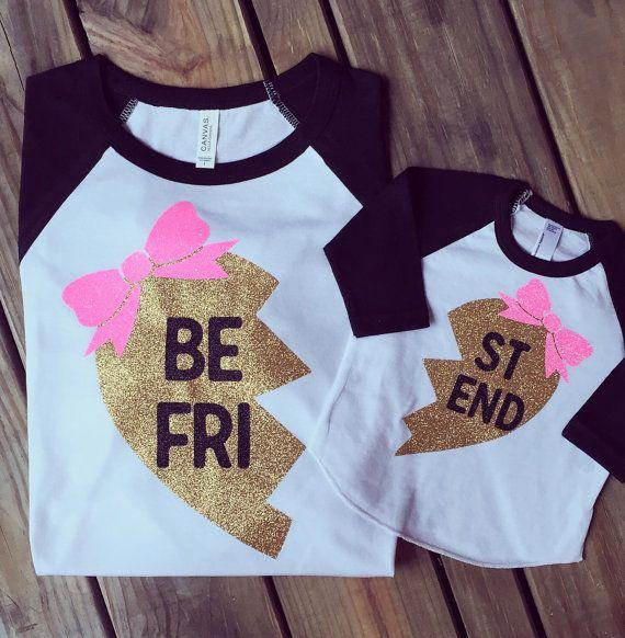 Beste vrienden Raglan Shirts, mama en mij Shirts, Twins Shirts, Shirts van de zusters, broer of zus Shirts, Hipster Shirt, gouden Glitter Shirts unisex grootte