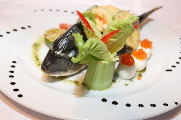 Dorado with julienne of seafood
