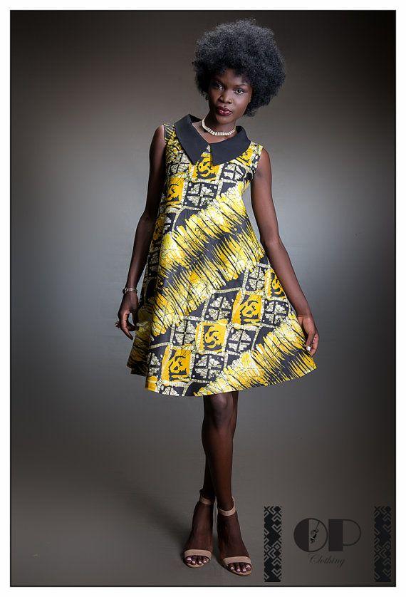 Short African print dress African dress Ankara by opclothinguk