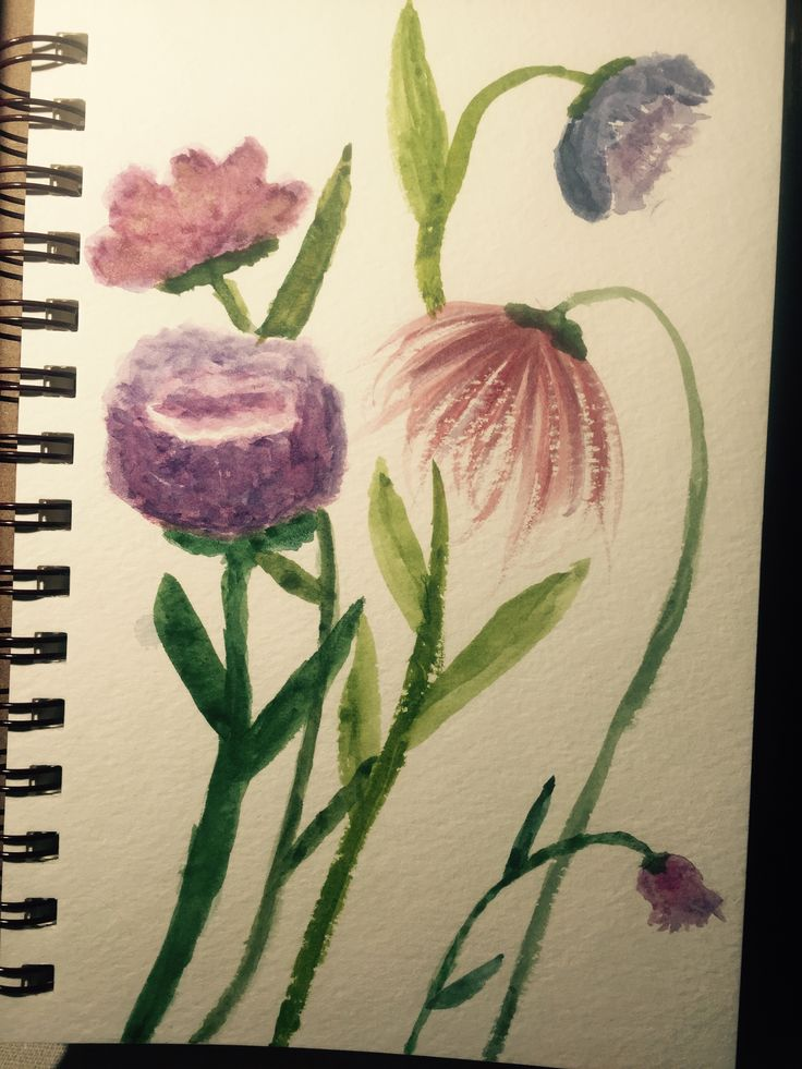 Second attempted painting and a failure. Though, I do like the pink flower on the right and the bud that's stem crosses the pink flower's stem. 10/27/2016