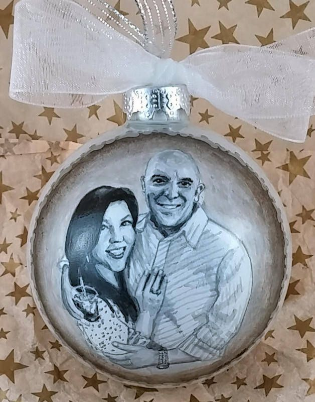 "https://flic.kr/p/TeniSf | Black & White Engagement Portrait Ornament | Custom engagement portrait ornament from black & white photo. Hand painted on 3 1/4"" white pearl finish glass ornament."