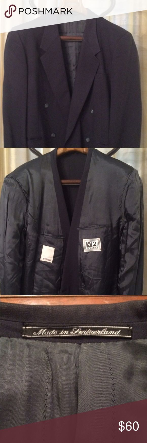 Versace Double Breasted Jacket Versace V2 made in Switzerland by Zegna. Double breasted jacket looks like to be a 44R. Jetted pockets,. Lining in good shape. No rips stains tears or any of that. More into available thanks for looking. Versace Suits & Blazers Sport Coats & Blazers