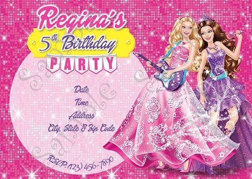 Barbie Party Invitation, Barbie Party, Barbie and the Pop star Birthday, Barbie Birthday party