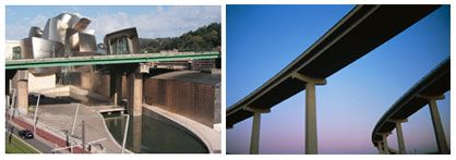 (left) Concrete column and beam bridge. (right) View from underneath an elevated and curving beam bridge.