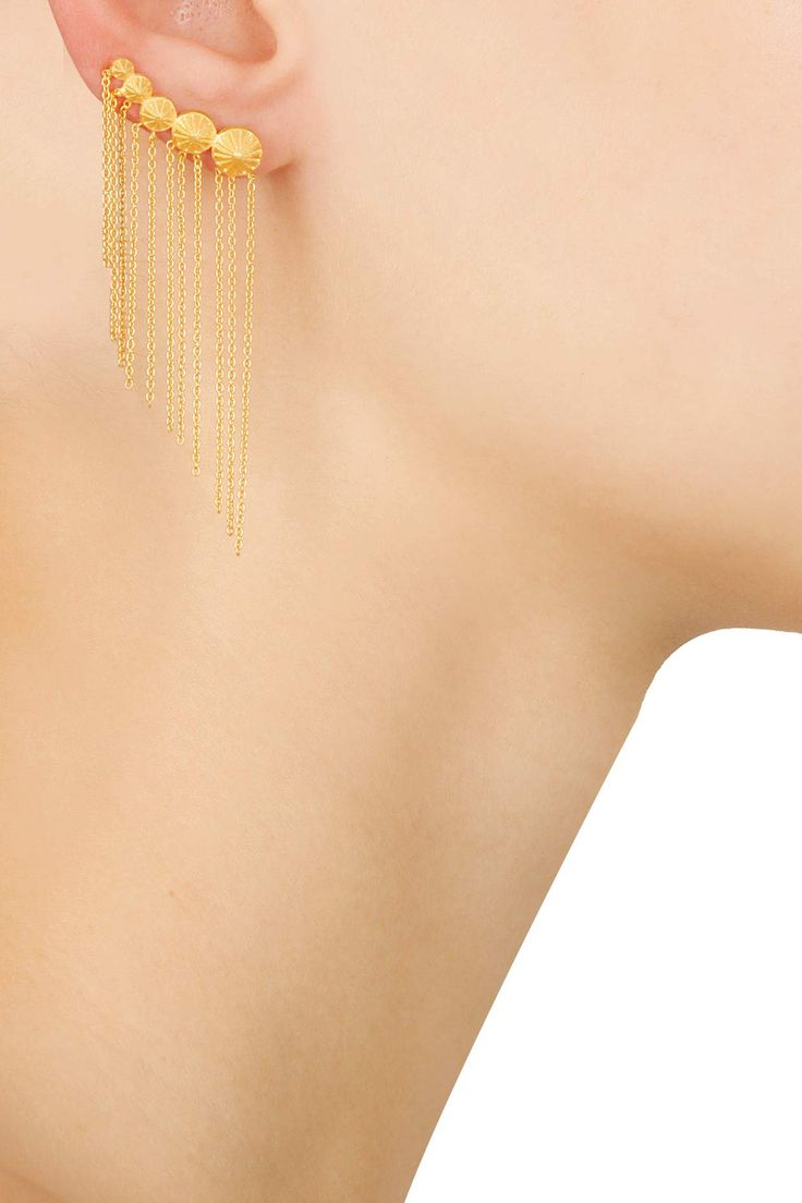 Gold plated chain hanging earcuff available only at Pernia's Pop Up Shop.