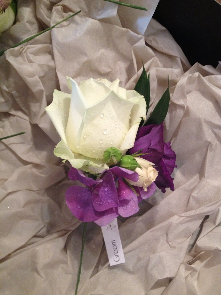 Grooms buttonhole, Avalanche Rose with Purple Lisianthus and Hydrangea