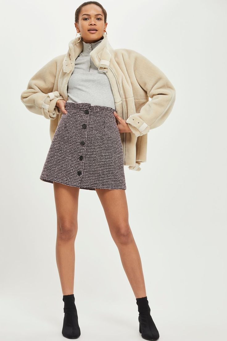 Boucle Frill Waist Skirt   Topshop