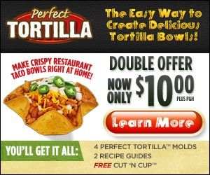 With the Perfect Tortilla you can make the a tortilla bowl very easy. Make crispy restaurant tortilla bowls right in your own home. Very easy to cook and they are baked never fried for a healthier choice.