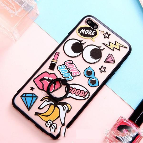 For iPhone 7 Plus 6 6S Plus 5 5S SE Funny 3D Cartoon Big EyeLash Red Lips Electroplating Mirrors Shockproof Phone Cases Cover