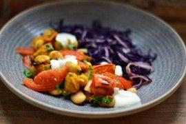 Ovnsbakte grønnsaker med stekt rødkål