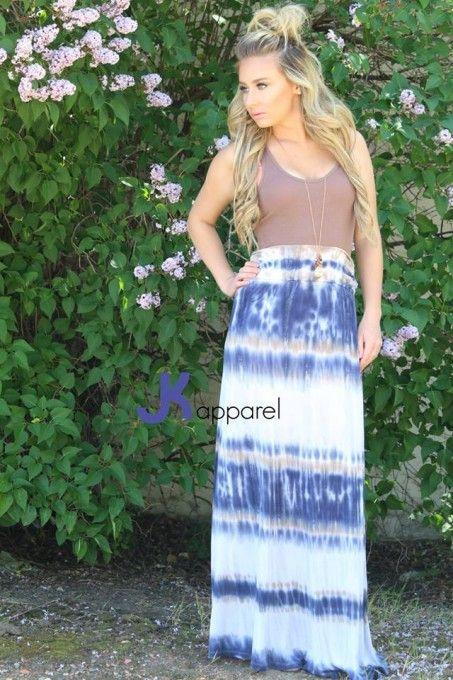 """Tie-Dye Waves"" Maxi Skirt"