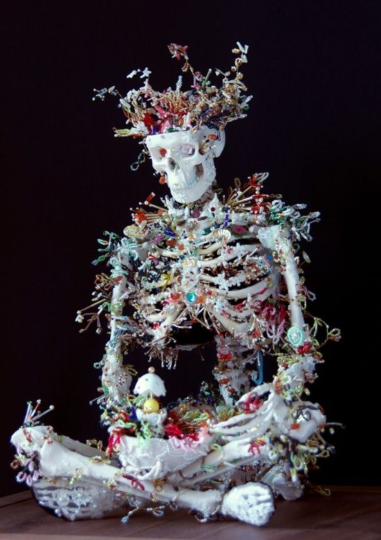Heartbeat of the Death by Japanese artist Haruko Maeda. Skeleton sculpture.