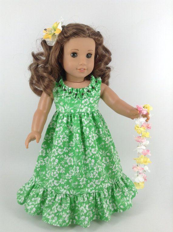 CUSTOM for CM -  American Girl 18-inch Doll Clothes - Hawaiian Dress in Lime Green/White, Flower Hair Clip, & Lei