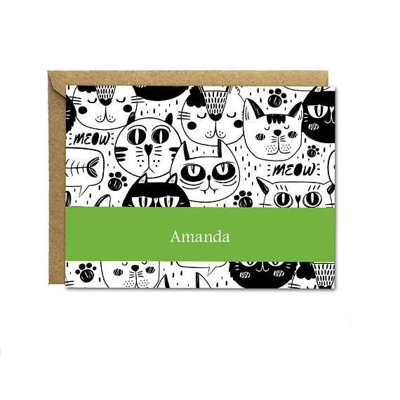 Personalized Stationery, Custom Stationery Set, Cat Notecards, Hostess Gift, Wedding, Thank You, Abstract, Cute Note Card, Greeting Card