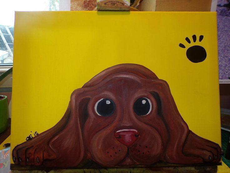 Puppy pawprints Choccie Lab Oil on canvas 30cm x 40cm £25.00 + £3.50 P&P