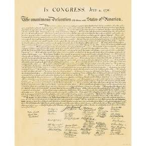 The greatness of the United States is deeply rooted in foundational documents like the Declaration of Independence, and now you can enjoy a quality reproduction of this legendary decree for your very own with the Declaration of Independence Art Print. As simple as the format is, you could spend hours studying the various passages written so beautifully and eloquently - like an unintentional work of poetry and visual art. Use this historical art print for educational purposes to build a love…