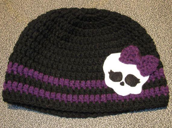 Monster High Skull Crochet Applique | Crocheted Monster High Inspired Hat by nightowlsatwork on Etsy