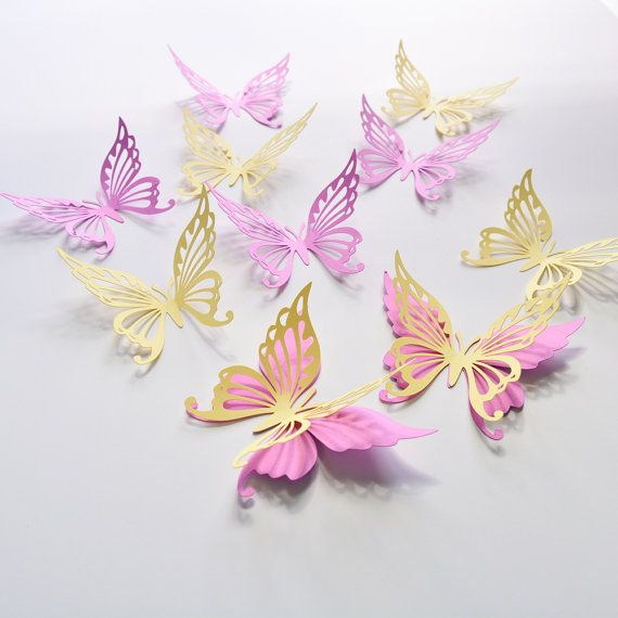 18 Butterfly Wall Decor Stickers Decorations For Girls Room Paper Party
