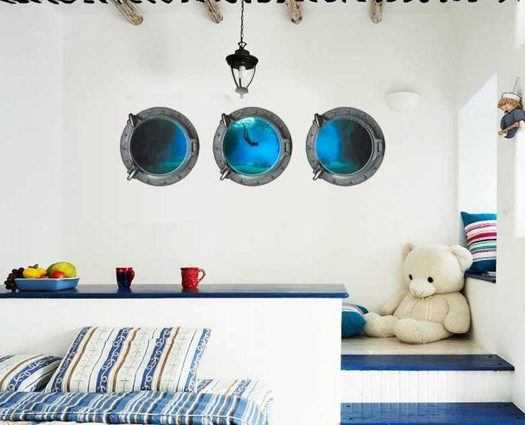 Поддельные Подводная Подводный Мир с Видом На Океан 3D Окна Стикер Стены для Детская Комната Стены Наклейки Домашнего Декора Росписи Обоев