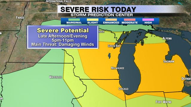 Severe Thunderstorm Watch in effect until 10 p.m.; 'Enhanced Risk' of severe weather Sunday | FOX6Now.com