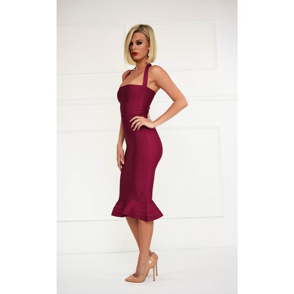 Helen Dress in Berry (330 BRL) ❤ liked on Polyvore featuring dresses, peplum dress, white peplum dresses, strapless midi dress, bandage dress and halter dress