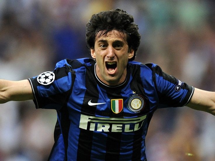 Diego Milito celebrates his second goal of the 2010 Champions League Final. The match finished 2-0 to Inter Milan, as the Italians defeated Bayern Munich bringing home their third European Cup title and first since 1965 completing a historic treble season.
