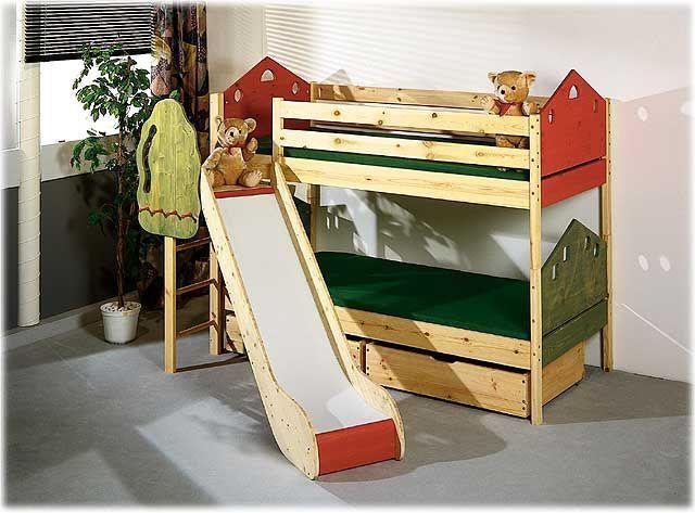 Vom BIO PROFI: Etagenbett  HAUS  mit Rutsche, Kiefer Massivholz, 90 x 200