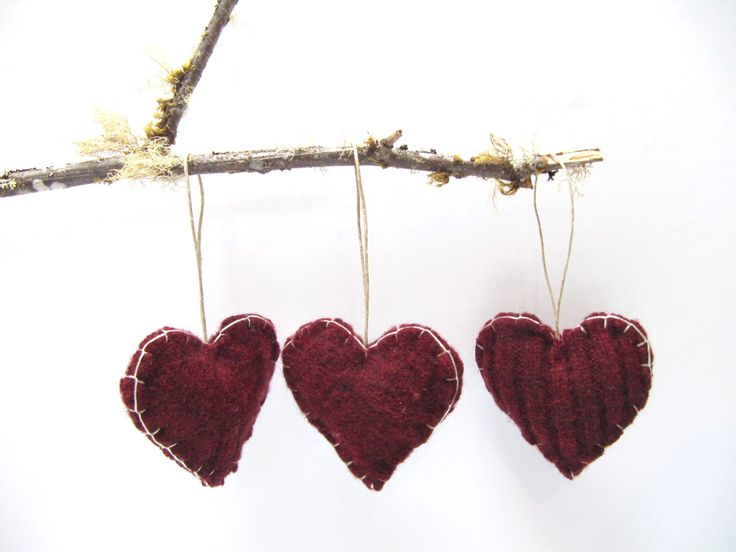 Wool Heart Ornament, Trio of Hearts Up-cycled Ornament, Heart Ornament, Heart Wedding Favor, Valentine Hearts Ornament by NatesMommyMadeIt on Etsy https://www.etsy.com/listing/165318847/wool-heart-ornament-trio-of-hearts-up