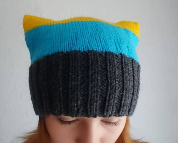 Grey blue and yellow pussycat hat Knitted minion by MKedraHandmade