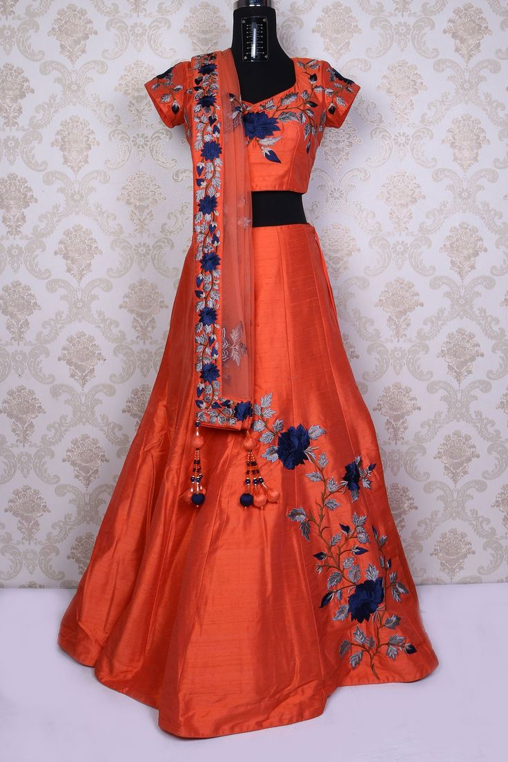 Rust #orange pure raw #silk glamorous #lehengacholi with resham #threadwork -GC637