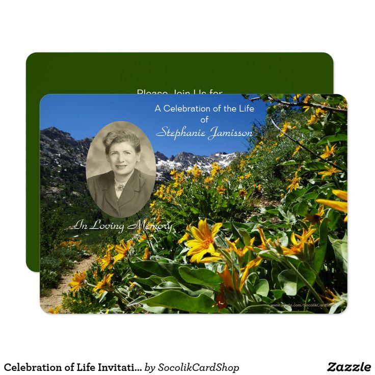 Celebration of Life Invitation, Flowers with Photo Card