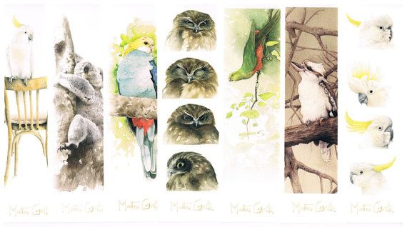 Australian Wildlife Watercolor Bookmark Collection