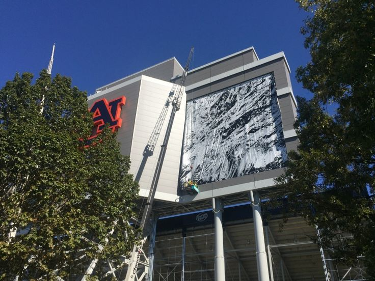New banners are being placed on scoreboard (October 14, 2015) ~ RollTideWarEagle.com sports stories that inform and entertain and Train Deck to learn the rules of the game you love. #Collegefootball Let us know what you think. #Auburn #WarEagle #CFB