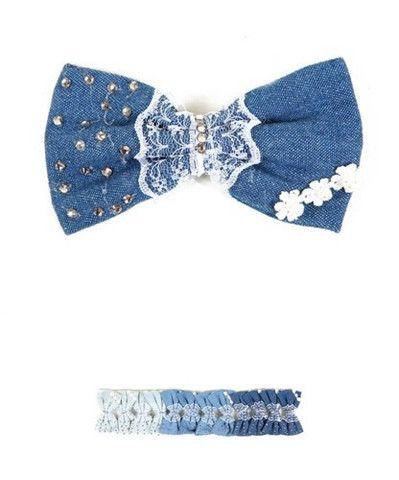 DENIM LACE RHINESTONES HAIR BOW CLIP WHITE BLUE NAVY - viXXen Clothing