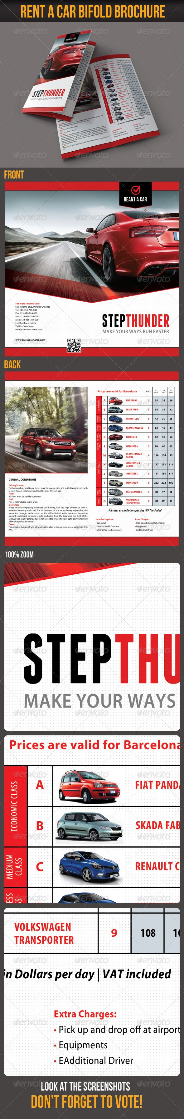 Rent A Car Bifold Brochure #GraphicRiver Rent A Car Bifold Brochure PSD TEMPLATE The Pack included: 2 PSD files Front and Back side PSD is well organized and Fully Layered Bleed Size: 220×220 mm (2598×2598 px) Standart Cut Size: 210×210 mm (2480×2480 px) CMYK 300 dpi Print Ready Readme file Preview Image not included in the download Readme file Fonts Required: Myriad Pro (system) Franchise: .dafont /franchise.font Bebas Neue: .dafont /bebas-neue.font Enjoy, and DON'T FORGET TO VOTE…