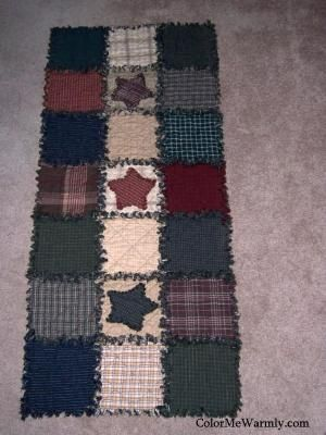 Rag Quilt Table Runner Colonial Primitive Colors by ColorMeWarmly, $39.00 by carlani