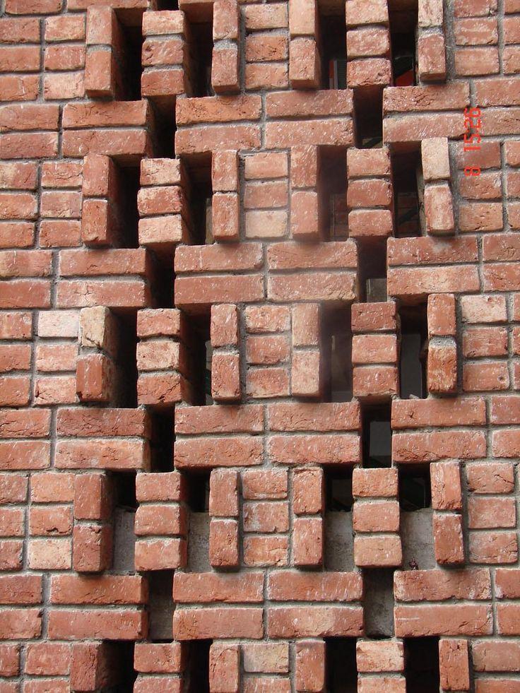 Brick jali gharexpert brick walls and vent blocks for Brick elevation design