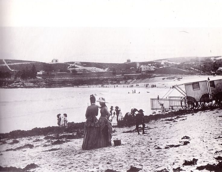Bathing Machines available at Coogee beach in Sydney. *Photo undated). possibly ca.1900's. v@e