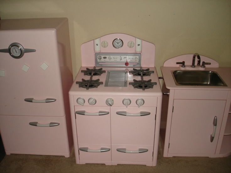 Pottery Barn Kids Pink Retro Kitchen Sink Refrigerator