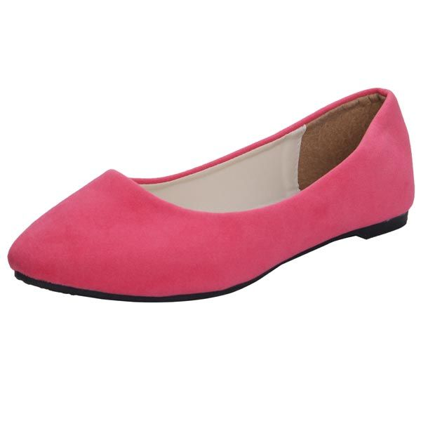 Sale 16% (7.49$) - Suede Pure Color Pointed Toe Flat Shoes Women Casual Shoes