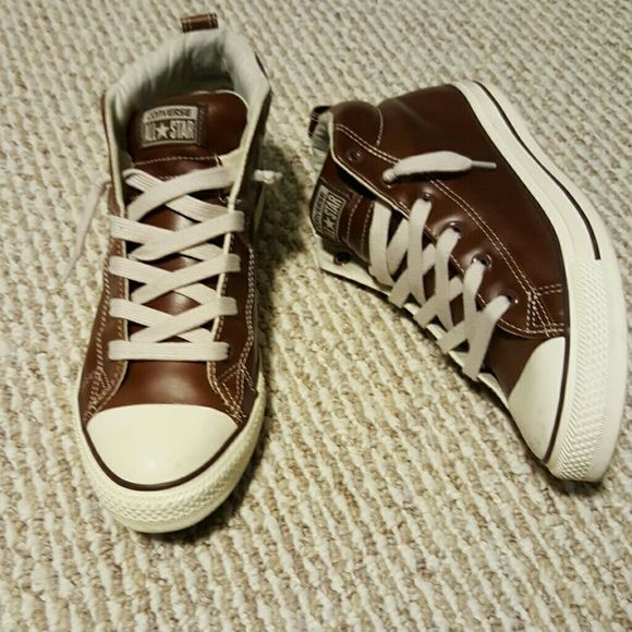 *HOST PICK* Sz 10 Converse Brown Leather Sneakers These Shoes are real Leather and only worn once. They are Brown with off white accents. Very comfortable but not my style. The price is firm due to style and only being worn once. Converse Shoes Sneakers