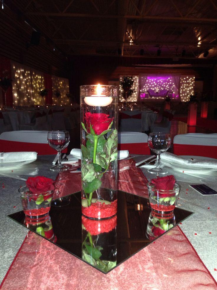 Centre de table  Rose rouge