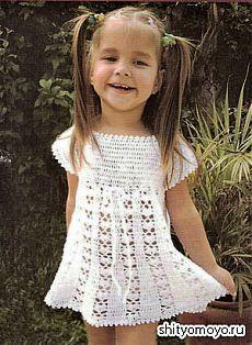 Детское платье, связанное крючком. Описание и схемы вязания бесплатно/Для детей/Вязание/Статьи / Шитье, вязание, рукоделие, бисероплетение