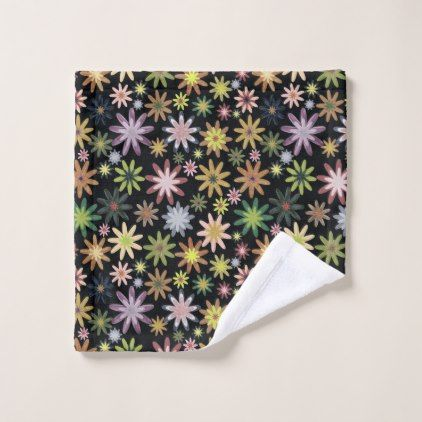 A colourful flower pattern wash cloth - patterns pattern special unique design gift idea diy