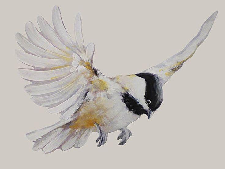 Flying Chickadee, Wall Decal Bird, Black-Capped Chickadee ... - photo#12