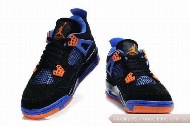 nike air jordan 4 retro suede black blue orange sneakers p 2894