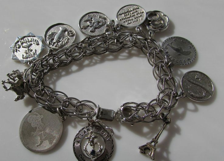 Vtg  Sterling Silver  Charm Bracelet Loaded 12 Charms 925  42.6 grams