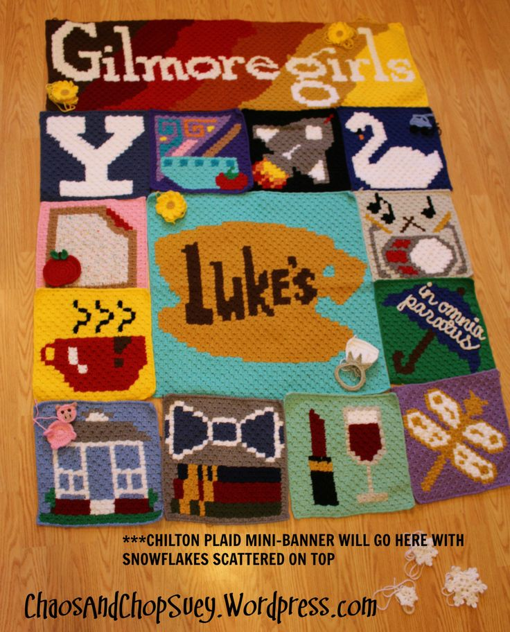 I could never fit all that I want to include on my Gilmore Girls graphgan without it fitting a California King sized bed. I want my blanket to be a large throw size for curling up with on the couch…